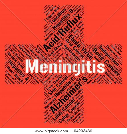 Meningitis Word Indicates Ill Health And Afflictions