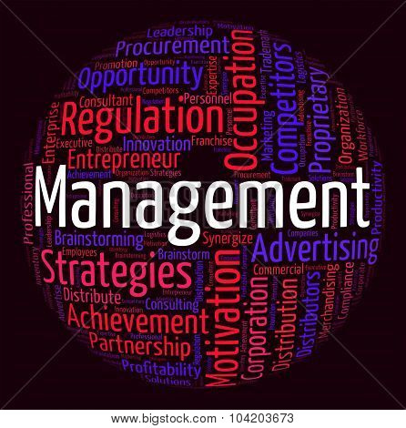 Management Word Shows Company Business And Directors