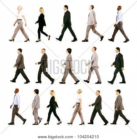 Business People Travel Walking Movement Concept