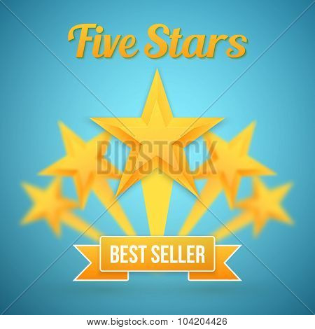 Set of Vector Gold Stars Icon. Five Stars Icon Template. Best Se