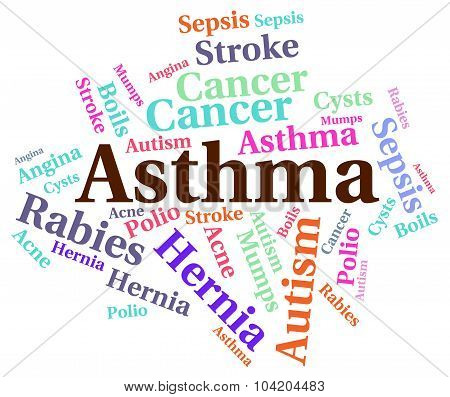 Asthma Word Represents Poor Health And Ailment