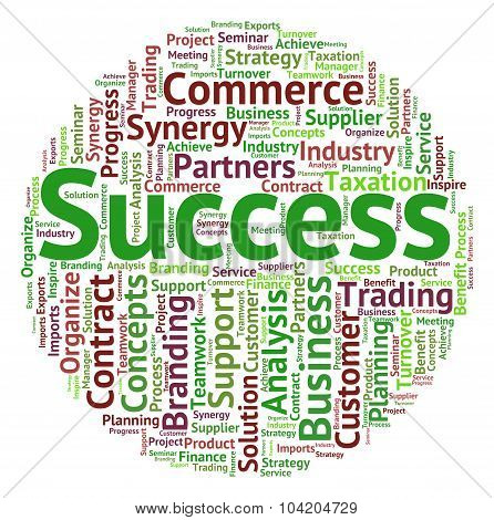 Success Word Indicates Victors Successful And Victorious