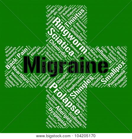 Migraine Word Means Neurological Disease And Affliction