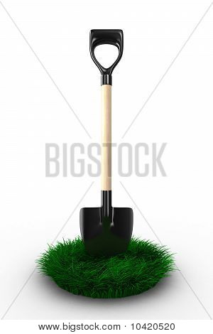 Shovel On White Background. Garden Tool. Isolated 3D Image