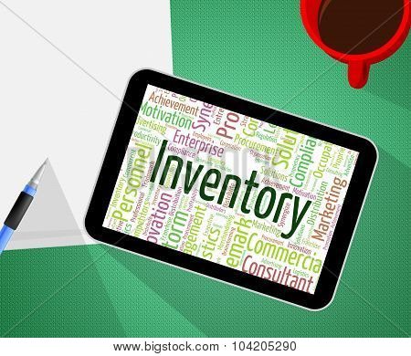 Inventory Word Shows Text Words And Stocks