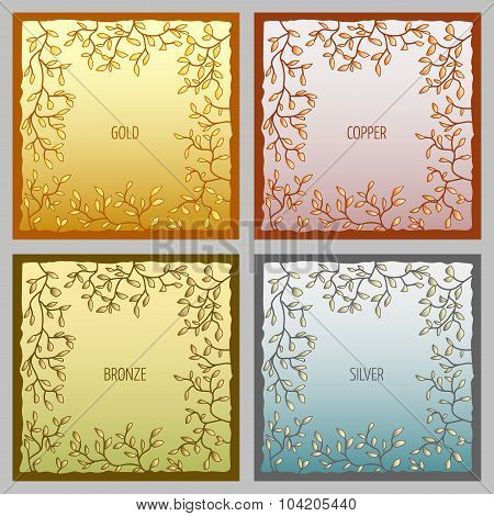 Set of 4 metal vector frames for text input
