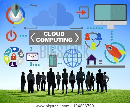 Business People Connection Global Communications Cloud Computing Concept