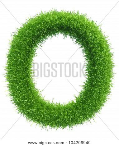 Vector capital letter O from grass on white background