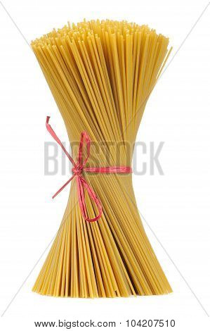 Uncooked Whole-wheat Spaghetti Tied In Budnle Isolated On White Background