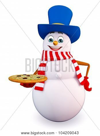 Cartoon Snowman With Pizza