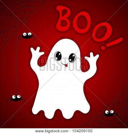 Halloween Card With Cute Ghost