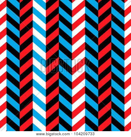Seamless Geometric Red and Blue Pattern
