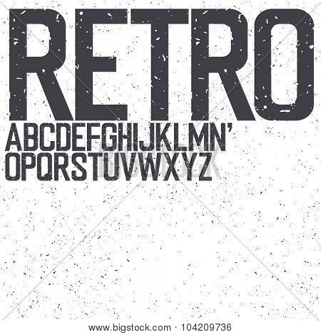 Classic Retro Uppercase Font. Set include textured background for designs