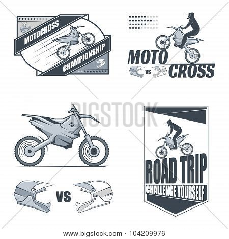 Motocross labels. Stock vector.