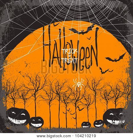 Halloween vector background. Dry tree and pumpkins. Full moon and bats. Spider web