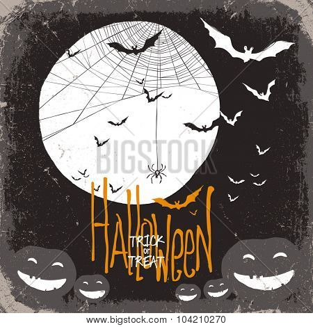 Halloween vector illustration. Spider web, full moon and pumpkins and bats