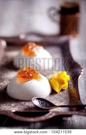 White creamy dessert panna cotta with rose