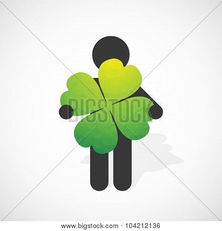 Black Silhouette Of A Man Holds The Four-leaf Clover