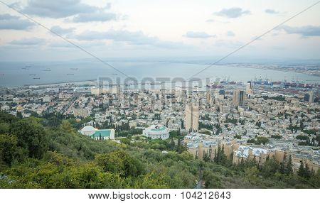 View Of The Bay Of Haifa At Sunset