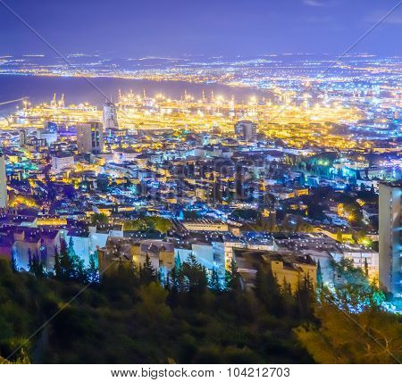 Night View Of The Bay Of Haifa And The Harbor