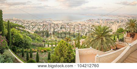 Panoramic View Of The Bay Of Haifa At Sunset