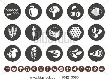 Food set with silhouettes of corn, dairy products, meat, vegetables, seafood, eggs, berry and honey.