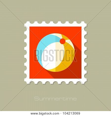 Beach Ball flat stamp with long shadow