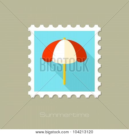 Beach Parasol flat stamp with long shadow