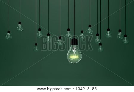 Lightbulbs On Green Background, Idea Concept