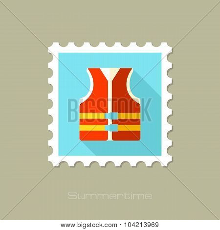 Life jacket flat stamp with long shadow