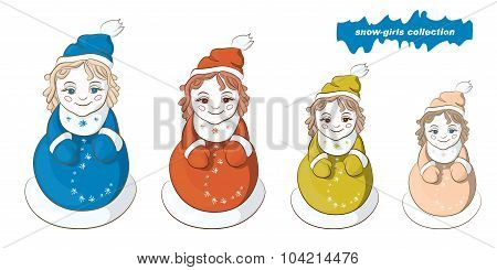 Snow Maiden Four-nesting Dolls