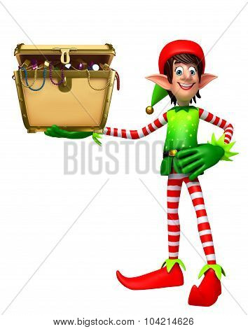 Cartoon Elves With Treasury Box