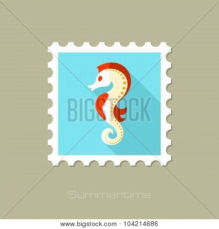Sea Horse flat stamp with long shadow