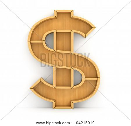 Concept Of Money. Empty Wooden Bookshelf In Form Of Dollar Sign. The Literature About Money. Learnin