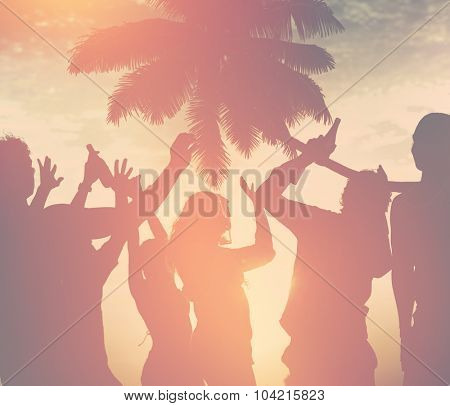 Silhouettes of Diverse Multiethnic People Partying Concept