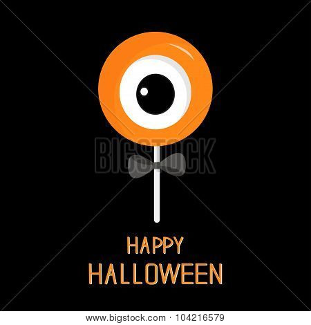 Sweet Candy Lollipop With Eyeball. Black Bow. Happy Halloween Card. Flat Design