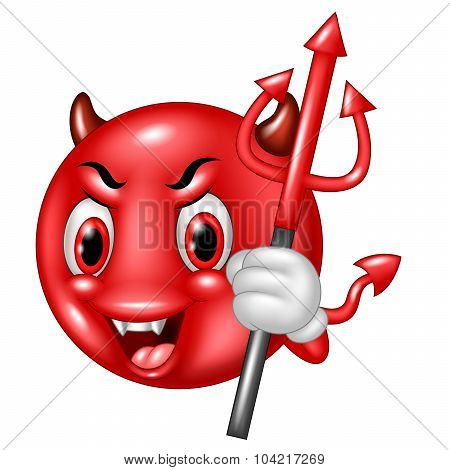 Cartoon devil emoticon with trident isolated on white background