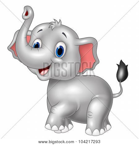 Cartoon baby elephant look to the side with trunk up
