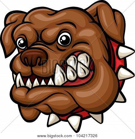 Angry cartoon bulldog head mascot