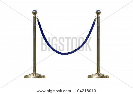 Stainless Barricade With Rope On White Isolated Background With Clipping Path.