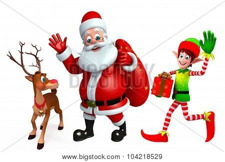 Cartoon Santa Claus And Elves With Reindeer