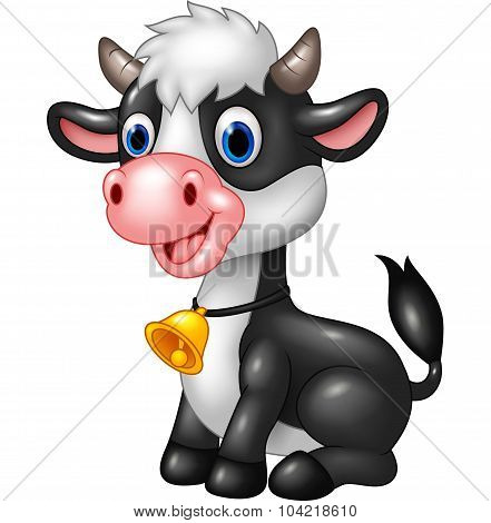Happy animal baby cow in a sitting posing