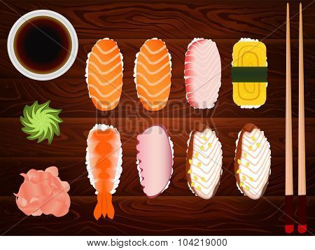 Sashimi Set Soy Sause Ginger Chopsticks Wood 2
