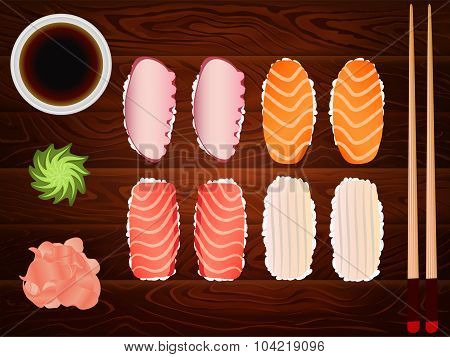 Sashimi Set Soy Sause Ginger Chopsticks Wood 9