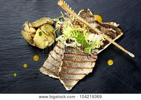 Sea Bass Fillet Dish From Top View