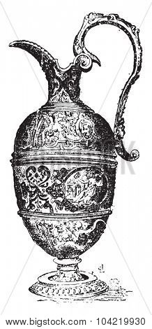 Pewter ewer, vintage engraved illustration. Dictionary of words and things - Larive and Fleury - 1895.