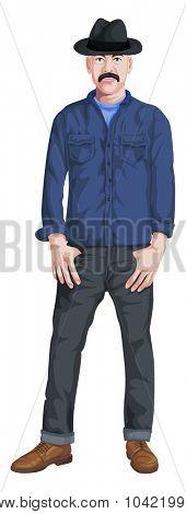 illustration of stylish man isolated on white.
