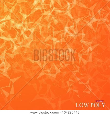 Polygonal Abstract background. Low poly, molecule and communication with connected dots, lines. Vect