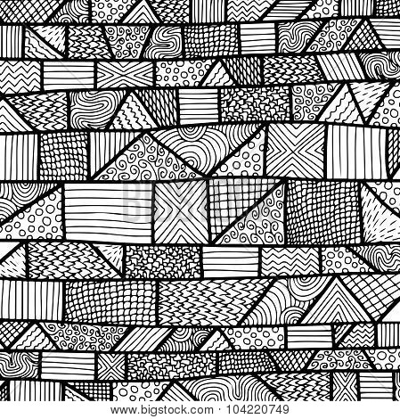 Zentangle Lines Pattern Black & White 2