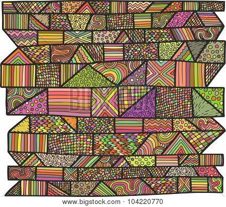 Zentangle Lines Pattern Colored Bright